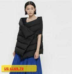 BACHN Autumn Winter Original Design Novelty Personality Women Warm White Duck Down Jacket All-Match Vest Cape Outerwear Black
