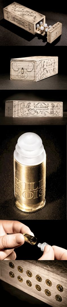 bullet-shaped ear plugs packaging for Killnoise - KILLNOISE is a Swedish group developing stylish state-of-the-art earplugs for use in noisy and loud environments. Their earplugs not only lessen noise – they kill it. www.serviceplan.com #ammunition #packaging #design