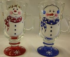 want to go to convention and learn this-my tole painting teacher is teaching this in Vegas in Feb 2012 Decorated Wine Glasses, Hand Painted Wine Glasses, Wine Glass Crafts, Wine Bottle Crafts, Pintura Tole, Christmas Wine Glasses, Painting Teacher, Snowman Crafts, Snowman Mugs