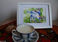 Original impressionist watercolour painting of two lovely goats I saw on a Czech farm This piece will become a wonderful present for anyone who loves