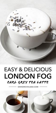 A london fog is a delicious tea latte made using earl grey tea! This delicious tea latte is perfectly sweetened and flavorful! Grab this easy recipe and make a delicious tea latte at home today! Tea Recipes, Coffee Recipes, Drink Recipes, Recipies, London Fog Recipe, London Fog Tea Latte, Green Tea Latte, Savarin, Earl Grey Tea