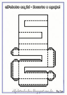 Alfabetos Lindos: Alfabeto em 3d para recortar e colar - Moldes de letras para recortar e montar - Letras em 3-D -