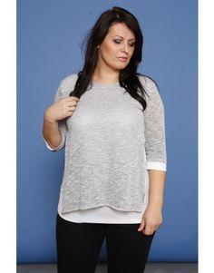 Sweter 2w1-srebrny melanż/połysk/SE plus size womens fashion for curvy body.Outfit ideas. Moda dla pań o pełnej figurze