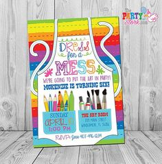 Love our new Art/Paint Party Invitation. Our new fav! Save and view for more Art Party Invites and Ideas.