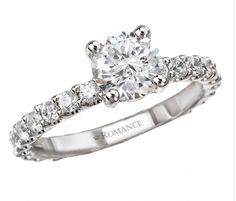 Semi-Mount Diamond Ring $2,930 Style: 117468-100 Diamond Romance Engagement Ring in 18kt White Gold. (D 3/4 carat total weight). This item is a SEMI-MOUNT and it comes with NO CENTER STONE as shown but it will accommodate a 6.5mm round center stone.