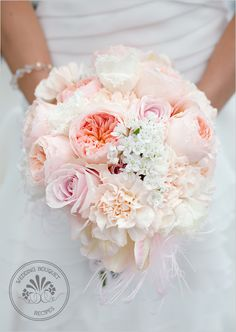 soft peach and pink wedding bouquet