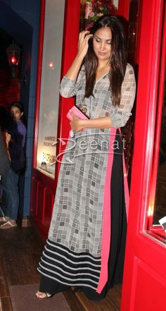 Lara Dutta In Casual, Long Salwar Kameez
