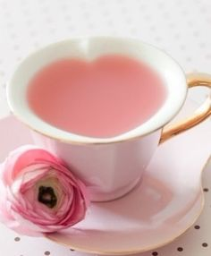 I love the way this tea cup makes a heart shape cup of tea. And the tea is pink! Perfect for a Pink Tea Party! Tout Rose, Pink Lady, Everything Pink, High Tea, Afternoon Tea, Pretty In Pink, Tea Time, Coffee Time, Coffee Cup