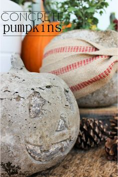 Concrete Pumpkins by The Wood Grain Cottage #Fall #Halloween #Diy
