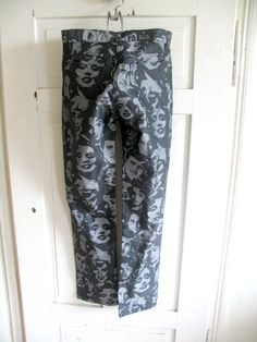 pants with print black pants vintage pants  Merlin by artwardrobe, $22.00