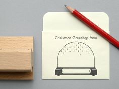So cute! Use this snow dome stamp as a template for custom Christmas cards. $12.50