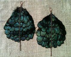 Handmade Green Lady Amherst Feather & Chain Earrings! by MetalsByMelissa, $25.00    http://www.etsy.com/shop/MetalsByMelissa
