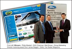 Marketing Director Matt Brown and Chairman Philip Maskell of Essex Auto Group receiving the award for Best Franchised Dealer Website from James Baggot, Editor of Car Dealer Magazine, in Essex Boys, Matt Brown, Automotive Industry, Cars For Sale, Editor, Magazine, Marketing, Group, Website