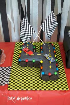 M&M racecar party racetrack cake