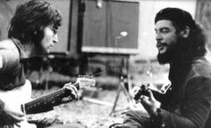 John Lennon and Che Guevara playing their guitars.