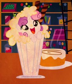 Sweetie Belle in a Milkshake. OMG she's adorable