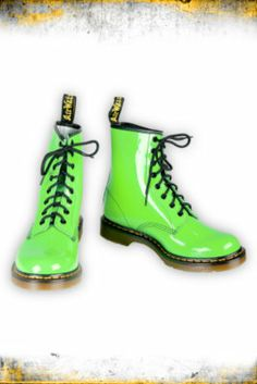Hottopic.com - Dr. Martens Neon Green Patent Leather 8-Holed Boots on Wanelo