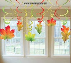 Add these festive Fall swirl leaves hanging from ceilings, doorways and more! Ea… Add these festive Fall swirl leaves hanging from ceilings, doorways and more! Each package contains six – leaf danglers and six green, gold and red twirls. Autumn Crafts, Autumn Art, Autumn Home, Autumn Leaves, Red Leaves, Fall Kid Crafts, Harvest Crafts, Fall Arts And Crafts, Decoration Creche