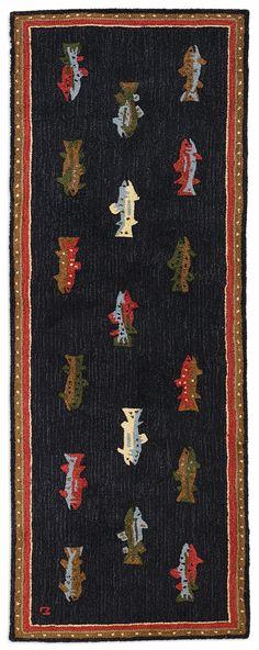 "River Fish Hooked Wool Runner Rug -- 96"" x 30"""