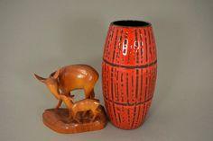 Rote Vintage Vase / Scheurich / Dekor Bambus / Modell 522 20 | West Germany | WGP | 60er von ShabbRockRepublic auf Etsy