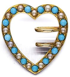An early 20th century turquoise and seed pearl heart shaped brooch The open heart set with an alternating row of circular cabochon-cut turquoise and seed pearls, with buckle design detailing, width 21mm, replacement catch, to original fitted case, retailed by Henry Lewis New Bond Street.