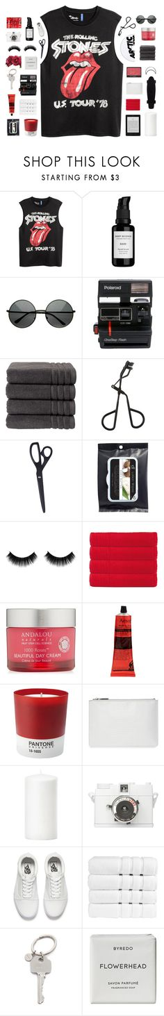 """""""i got rage every day, on the inside, the only thing I do is sit around and kill time - RTD"""" by lost-on-the-horizon ❤ liked on Polyvore featuring Root Science, Polaroid, Christy, Topshop, HAY, Olivier Desforges, Andalou, NARS Cosmetics, Aesop and Pantone"""