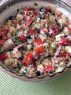 Salata cu ton, cous-cous si legume de sezon Couscous, Potato Salad, Cooking Recipes, Potatoes, Rice, Ethnic Recipes, Food, Salads, Eten