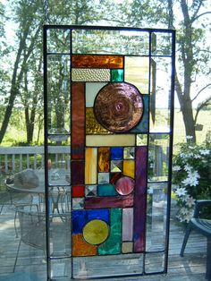 Original Rondel Stained Glass Panel by islandglass1 on Etsy, $135.00