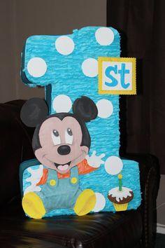 Piñata Creation. Custom #1Mickey Mouse Piñata. Baby Mickey Mouse, Mickey Mouse Pinata, Mickey Mouse Parties, Mickey 1st Birthdays, Mickey Mouse First Birthday, Boy First Birthday, Boys 1st Birthday Party Ideas, Horse Birthday, Baby Shower Balloons