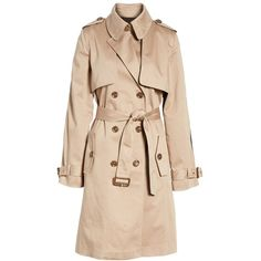 Women's Trina Turk Allison Two-Tone Trench Coat (1,350 ILS) ❤ liked on Polyvore featuring outerwear, coats, trina turk coat, beige coat, trina turk, trench coats and beige trench coats