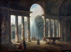 Hubert Robert(Paris 1733 - Paris 1808),Fontaine sous un portique ou Le portique de la Villa Médicis.PhotoBeaussant-Lefèvre
