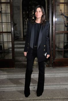 Emanuelle Alt Must Try: PANTSUITS! this tuxedo jacket adds a very serious and sharp edge to a simple shell and flare pants. the monochrome black makes this easy to wear and to put together from your own closet!