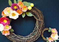 felt flower twig wreaths