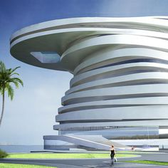 Helix Hotel, in the Zayed Bay district of Abu Dhabi, UAE. New York design firm Leeser Architecture.