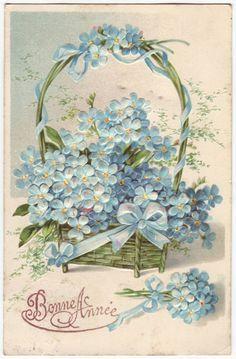 German postcard - Basket of forget me nots, embossed flower card - Antique romantic edwardian floral postcard - 1900's (B387)