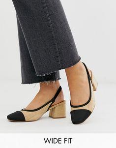 ee356d6c15 ASOS DESIGN Wide Fit Whisker slingback mid heels in natural fabrication    ASOS