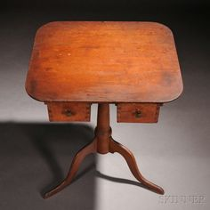 Shaker Maple and Pine Stand, Enfield, Connecticut, c. 1840, the rectangular top…