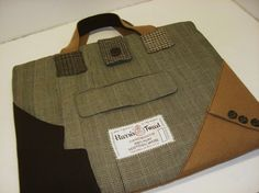 Recycled Suit Coat Laptop Sleeve 15 macbook Tote by SewMuchStyle