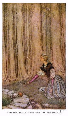 """The Frog Prince."" Rackham uses pastel pinks and purples in the gown to make this princess look girlish, but she has a regal posture. Very sweet, innocent look."