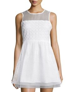 Mesh+Sleeveless+Fit-&-Flare+Dress,+White+by+Romeo+&+Juliet+Couture+at+Neiman+Marcus+Last+Call.