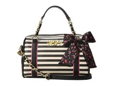 Betsey Johnson Striped and Floral Satchel - Zappos.com