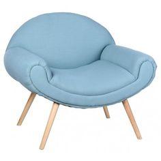Butaca con reposabrazos con estructura de madera de caucho y tapizado en poliester color azul.      Medidas: 60x82x79 cm