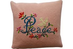Peace Needlepoint Pillow on OneKingsLane.com