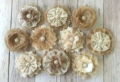 10 burlap and lace rustic handmade flowers with rhinestone metal buttons