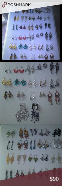 37 pairs of earrings 37 pairs of earrings ( brand new , used once , used twice )  All for $90 Jewelry Earrings