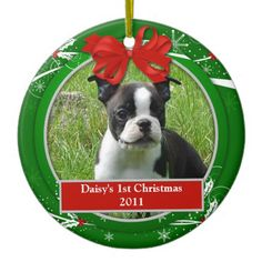 Puppy's 1st Christmas Red Green Holly Berries | Ceramic Ornament
