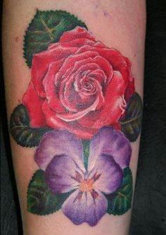 Red rose and purple pansy tattoo