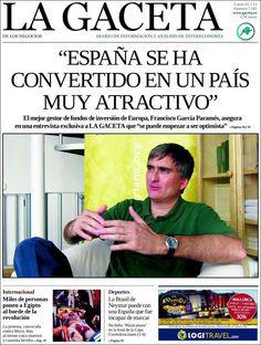 Los Titulares y Portadas de Noticias Destacadas Españolas del 1 de Julio de 2013 del Diario La Gaceta ¿Que le parecio esta Portada de este Diario Español?