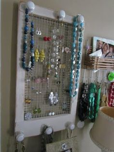 Jewelry Organizer from an old window frame Belle Beau