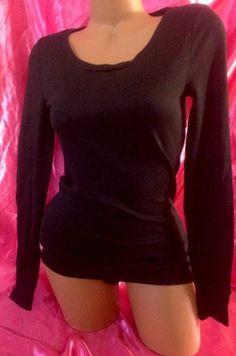 Victoria's Secret PINK Large L Black Neon Scoopneck Thermal Shirt Long Sleeve